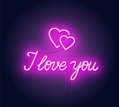 I love you neon lettering . Heart sign. Vector illustration on dark background.