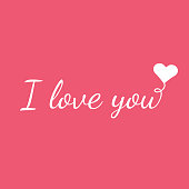 White I LOVE YOU text on pink background