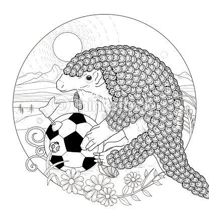 Adorable Armadillo Página Para Colorear Arte vectorial | Thinkstock