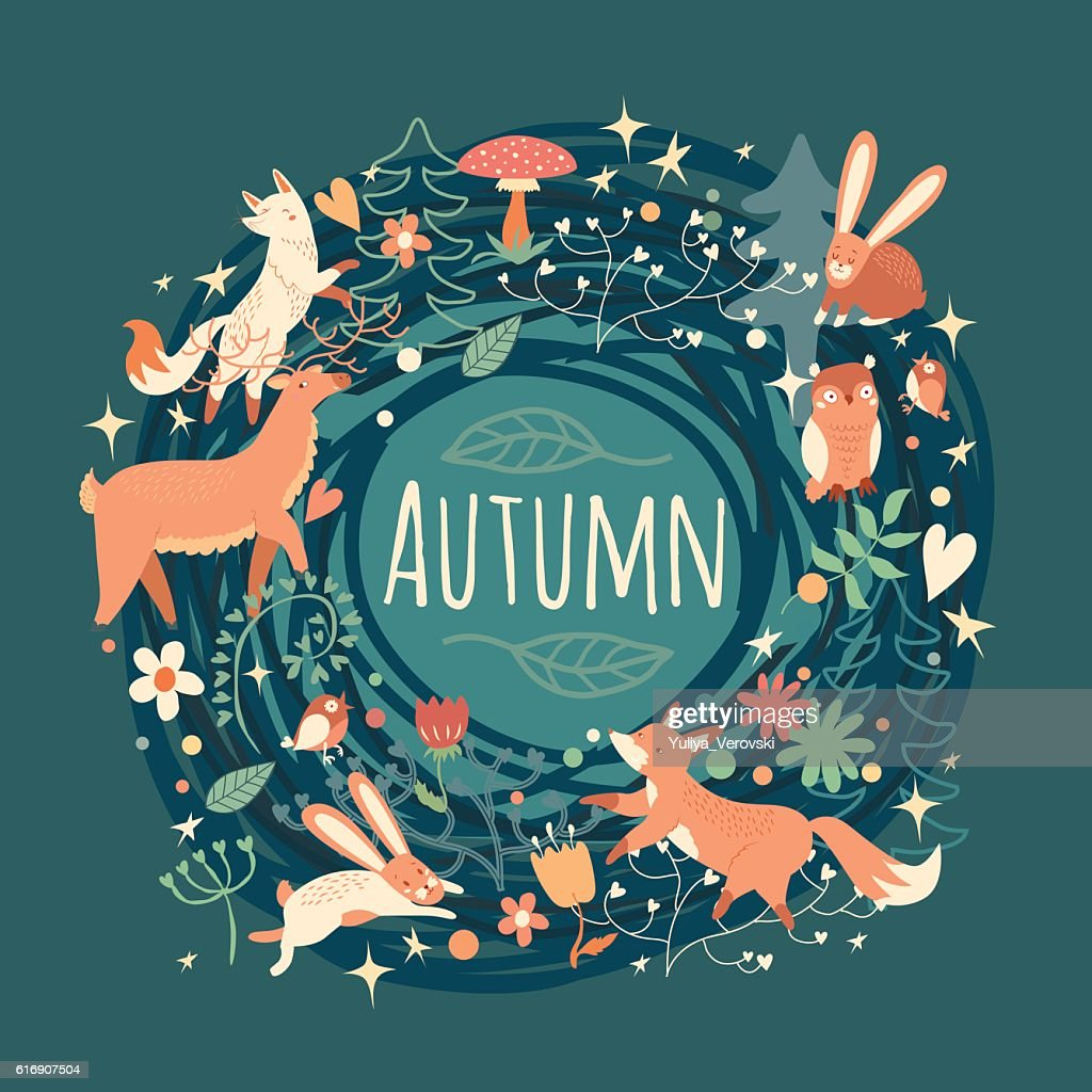 Lovely Autumn concept card with awesome animals in vector. : Vector Art