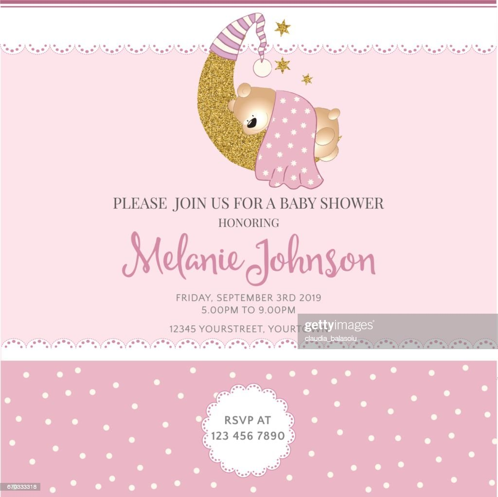 Lovely Baby Shower Card Template With Golden Glittering Details : Vector Art