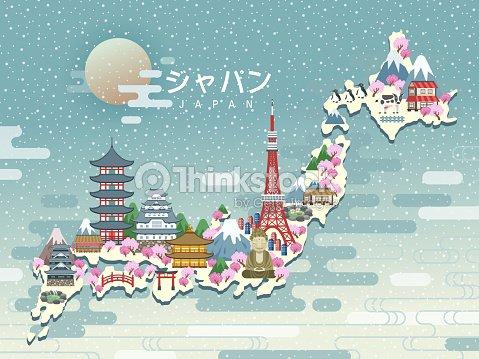 Lovely Japan Travel Map Vector Art Thinkstock - Japan map vector art