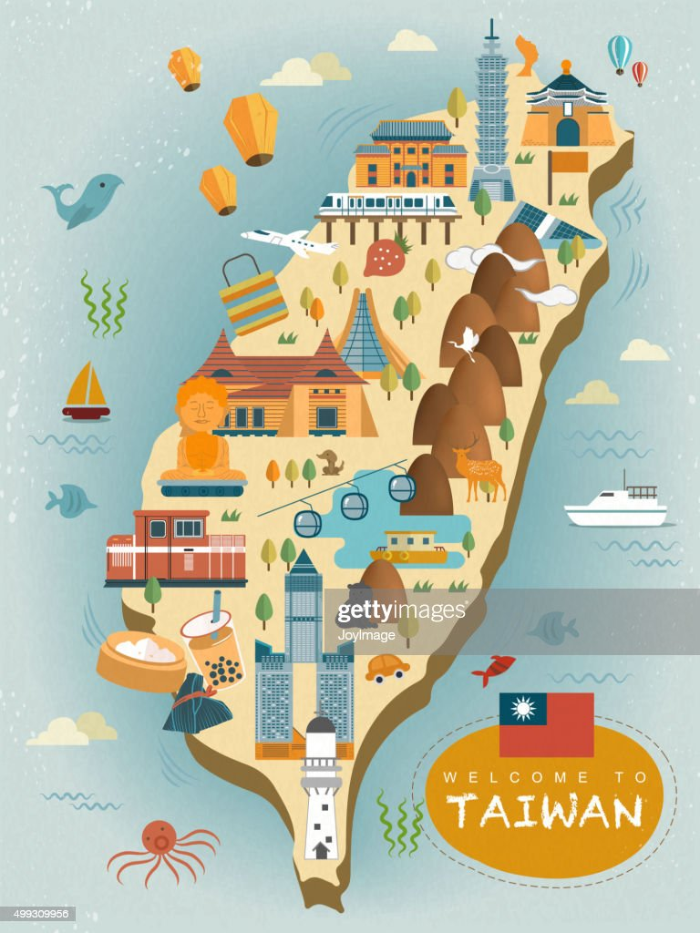 Lovely Taiwan Travel Map Vector Art Thinkstock
