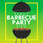 Lovely vector barbecue party invitation design template. Trendy BBQ cookout poster design with classic charcoal grill, fork, cooking paddle and sample text