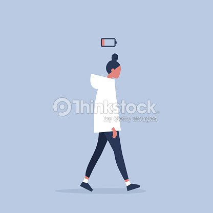 low battery conceptual illustration. young female exhausted character. Modern urban life / flat editable vector illustration : stock vector