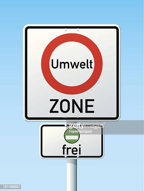 Low Emission Zone Green Label Cars Only Road Sign