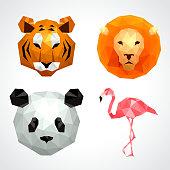 Low poly animals tiger lion panda flamingo icons vector set