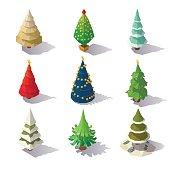 Isometric Christmas trees isolated on white background.
