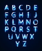 Low poly cristal alphabet font. Vector illustration EPS 10
