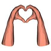 Low poly hands in triangle heart shape for valentine day or romantic emotion
