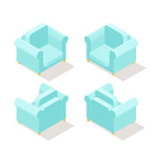 Low poly isometric armchair in different positions. Realistic icon. Isolated illustration of living room furniture