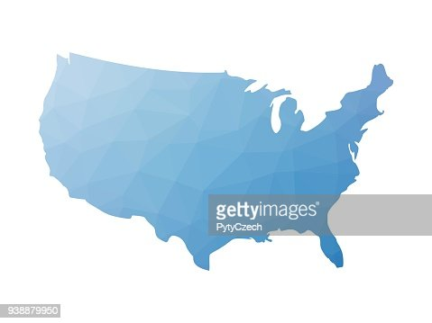 Low poly map of USA : stock vector