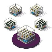 Mining of crypto-currencies. Isometric Farm from video cards. Mining Farm from different angles. Vector low poly illustration.