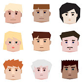 Low poly people faces. Vector set