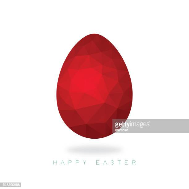 Low poly red Easter egg on an ice white background