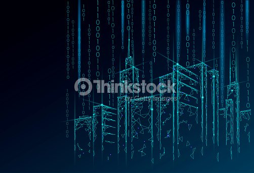 Low poly smart city 3D wire mesh. Intelligent building automation system business concept. Binary code number data flow. Architecture urban cityscape technology sketch banner vector illustration : stock vector