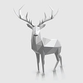 Polygonal animal illustration. Christmas graphic element.