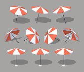 Sun umbrella. 3D lowpoly isometric vector illustration. The set of objects isolated against the grey background and shown from different sides