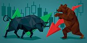 Vector illustration in polygonal style. Financial graph background. Bull and bear with financial graph. Financial graph background.