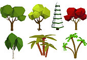 "Low poly trees. Vector set of trees in the style of low poli. Birch, spruce, oak, palm. Stock ""nvector illustration"