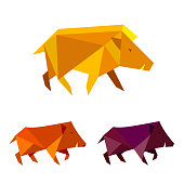Low poly wild boar. Polygonal geometric style pig sign. Set of modern bright colored triangle image hog in design for cover card,  banner, badge, emblem.