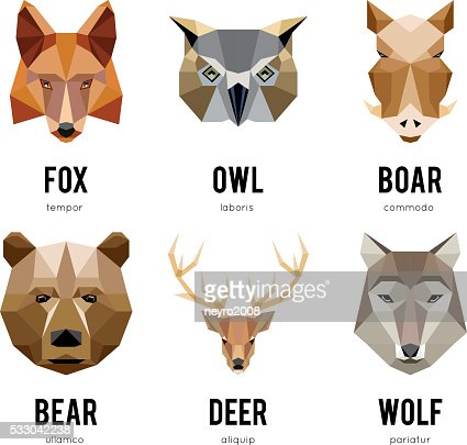 Low polygon animal logos. Triangular geometric animals logo set : stock vector