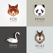 trendy low polygon style animal design element icons for business visual identity -swan, fox, panda bear and wolf- modern geometric triangular style. Contemporary artwork, animals have a subtle popula