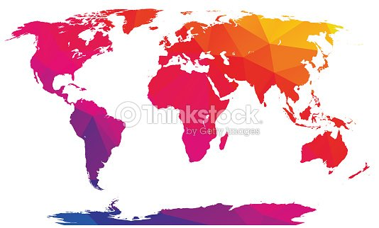Low Polygonal Rainbow World Map Vector Art Thinkstock