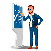 Low Salary, Sad Man In Business Suit Next To An Atm Vector. Illustration