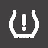 Vector illustration of a sign on the car dashboard on a gray background. The icon indicates low tire pressure. Design of button