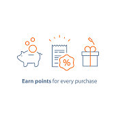 Earn points and get reward, loyalty program, marketing concept, vector line icon, thin stroke illustration