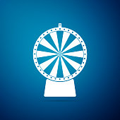 Lucky wheel icon isolated on blue background. Flat design. Vector Illustration