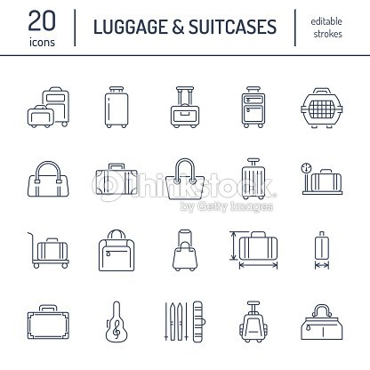 Luggage flat line icons. Carry-on, hardside suitcases, wheeled bags, pet carrier, travel backpack. Baggage dimensions and weight thin linear signs : stock vector