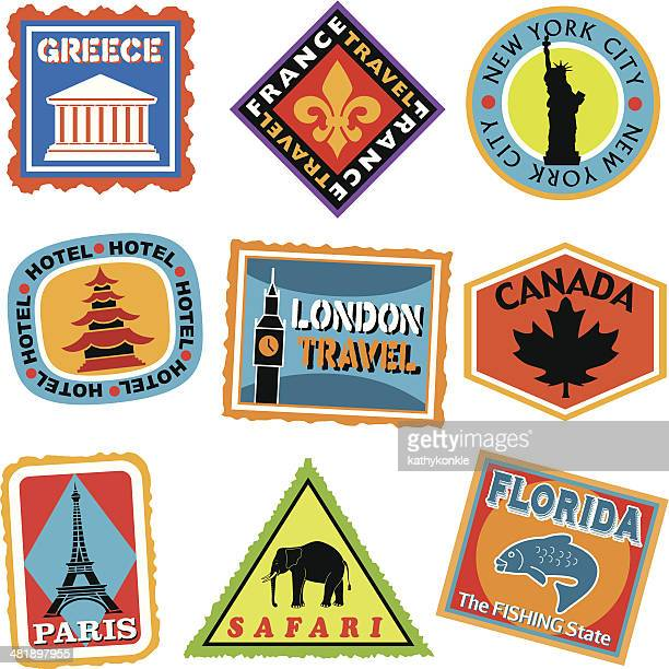 luggage labels or travel stickers