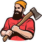 Lumberjack, axeman with axe in hands. Carpentry, woodworker, sawmill concept Cartoon vector
