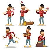 Lumberjack Cartoon Character Set. Woodcutter with Axe. Vector illustration