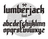 Lumberjack new modern custom gothic alphabet font. Black vector font set on saw and canvas background