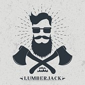 Lumberjack label, logo, t-shirt design with illustrated man in beard and glasses with axes Vector illustration