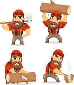 Lumberjack timber cutting wood, vector illustration cartoon.