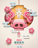 Lovely piggy head in a lanter, new year poster design with Spring and Happy new year words written in Chinese characters