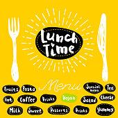 Lunch time fork knife menu. Lettering calligraphy logo sketch style light rays heart, pasta, vegan, tea, coffee, deserts, yummy, milk, salad. Hand drawn vector illustration