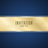 Luxurious invitation. Golden ribbon banner on a blue background with a pattern of oblique lines. Realistic gold strip with an inscription. Gold lace. VIP invitation. Vector