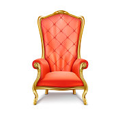 Luxurious antiquarian red armchair with high backrest realistic vector illustration isolated on white background. Gilded royal throne, exclusive old  carved furniture from expensive materials icon