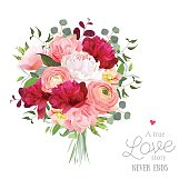 Luxury autumn vector bouquet with ranunculus, peony, rose, carnation, green plants on white vector design set. Bunch of flowers in modern mixed style. All elements are isolated and editable.