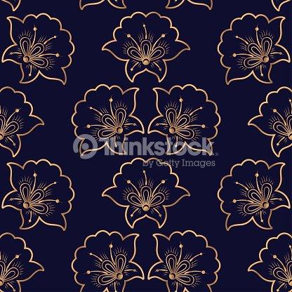 Vecteur De Luxe De Fond Motif Floral Royal Sans Soudure