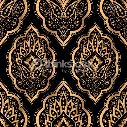 Paisley Royal Pattern Seamless Turkish Design For Yoga Wallpaper Beauty Spa Salon Ornament Indian Wedding Invite Party Birthday Wrapping Paper