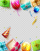 Birthday balloons, gifts and confetti on transparent background - Luxury birthday template