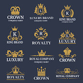 Luxury boutique calligraphy logo best selected collection hotel brand identity and crest heraldry stamp premium insignia design crown vector illustration. Decorative quality wreath line.