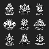 Luxury boutique Royal Crest high quality vintage product heraldry logo collection brand identity vector illustration. Decorative quality wreath line.