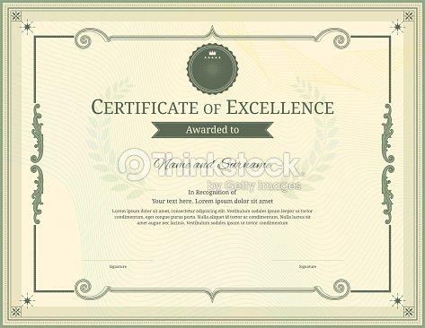Luxury Certificate Template With Elegant Border Frame Diploma Design